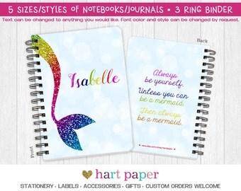 Rainbow Mermaid Spiral Coil Bound Notebook Journal Diary 3 Ring Binder Name Back to School Supplies Teacher Custom Birthday Gift Girl Boy