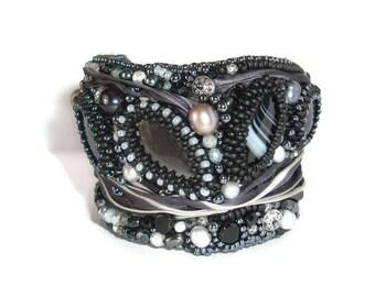 Black Silk embroidered Cuff bracelet, Gemstone cuff bracelet