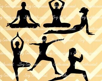 6 Yoga poses SVG cut files, Yoga meditating silhouette svg, Flexibility svg, Cricut, Dxf, PNG, Eps, Vinyl, Clip Art, Vector, Silhouette