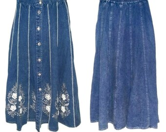 Vintage Denim Midi Skirt 80s High Waisted Button up Rhinestones Beads Embroidered Floral Jean Skirt Elastic Waist Jazzino Size Small Medium