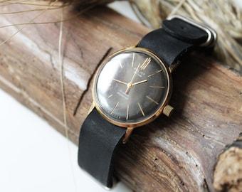Slim men's watch Poljot de Luxe, gold plated AU 20 men's watch rare, shockproof watch, classy men watch, premium leather strap new