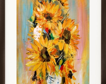 Sunflower painting, Floral Giclee art print, Oil Painting print, Sunflower wall art, Sunflower print, Living room decor, Modern artwork