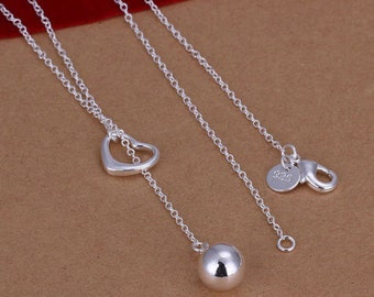 925 Sterling Silver Ball through a Heart Necklace and Pendant