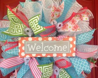 Welcome Wreath in Coral and Teal. Front door Wreath.  Small Wreath