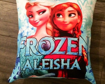 Frozen 18 inch x 18 inch envelope cushion . Can be personalised