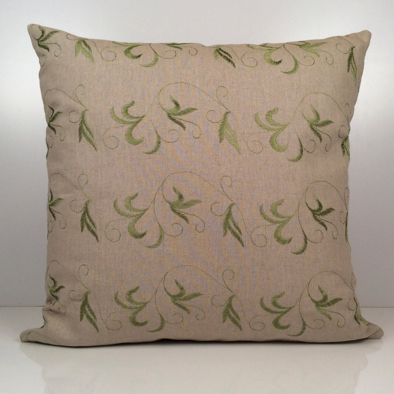 Khaki Pillow Lime Green Silk Embroidery Throw Pillow Cover