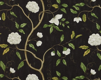 COLEFAX & FOWLER CHINOISERIE Japanese Snow Tree Floral Linen Fabric 10 Yards Oyster Green Amber Black