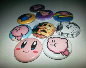 9 one-inch Kirby button pins