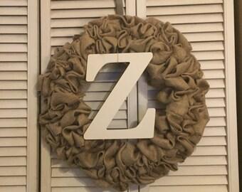 Burlap wreath with metal Initial Monogram letter name spring summer fall winter outdoor door hanger bubble rustic wedding decor
