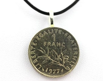 "Pendant Necklace Coins "" France "" 1 franc Semeuse + black leather cord . SKU007070"