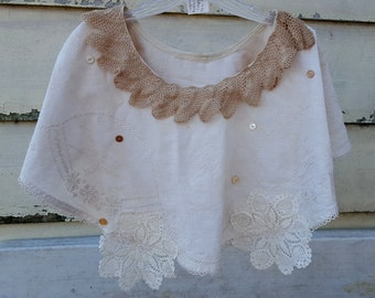 Shabby Tea Stained Capelet Cape Upcycled Vintage Tablecloth