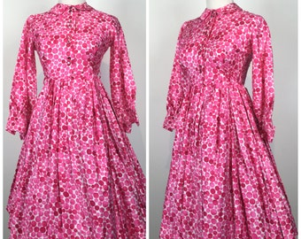Vintage 50s dress / 1950s dress / polka dot dress / shirtwaist dress / pink dress / Day Dress / Fit and Flare dress / cotton dress / M1164
