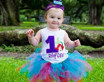 Little Mermaid Ariel Princess Personalized Embroidery Applique Birthday Shirt or Onesie!