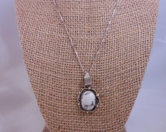Sterling White Buffalo Pendant and Chain Necklace