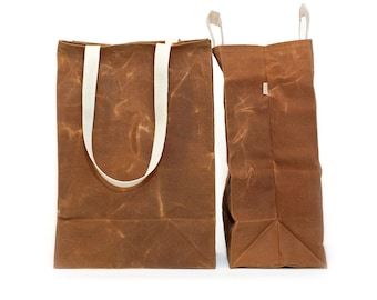 Extra Large Market Bag // Waxed Canvas Bags // Reusable Grocery Bag // Brown Bag