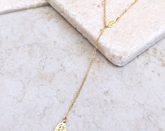 Gold leaves, Y necklace, Delicate Necklace, Lariat Necklace, Dainty Necklace, Bridesmaids Gift, Dainty Layering