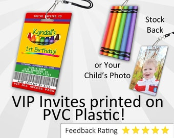 Crayon Invitation PLASTIC Crayon, Crayon Invitation, Birthday Invitation, Birthday Invite, Crayon Birthday Invitation