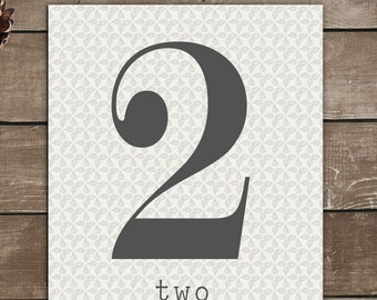 Numbers Print, 2, Two, Vintage Inspired, Typography Art
