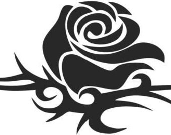 Set (2 Pieces) Tribal Rose  Sticker Decals with custom text 20 Colors To Choose From.  U.S.A Free Shipping