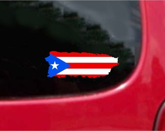 2 Pieces Puerto Rico Outline Map Flag Vinyl Decals Stickers Full Color/Weather Proof. U.S.A Free Shipping