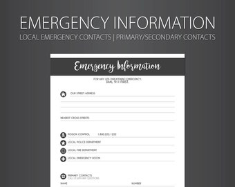 Babyitter Emergency Contact Information