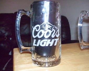 coors light etched  beer mug