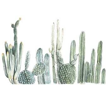 Horizontal Cactus Print - cactus painting - cacti - cactus watercolor - home decor painting - southwestern painting - greenery - cacti art