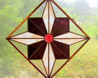 Japanese Star Stained Glass Quilt Square Hung Diagonally with German Jewel Traditional Japanese Indigo Print Design