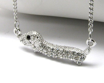 High Crystal White Gold Plating Dachshund Weiner Hot Dog Handmade Pendant Necklace
