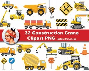 32x  Construction Crane Trucks  Digital Clipart, - printable Digital Clipart Graphic Instant Download