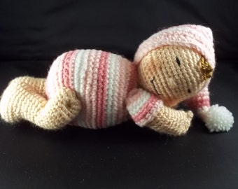 Sleeping Baby Doll - Pink Stripe