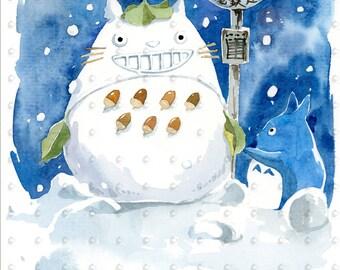 "Studio Ghibli Snowman Totoro 5""x7"" Watercolor Art Print, Anime Print, My Neighbor Totoro"
