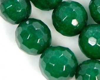 """6mm Faceted Green Jade Round Beads 15"""""""