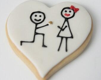 "1 Dozen Decorative 4"" Shortbread Heart Shape ""Proposal"" Cookies"