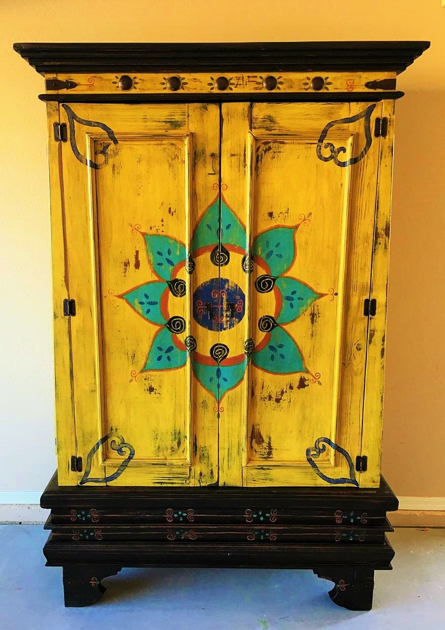 hand painted bathroom cabinets sold beautiful painted mexican cabinet by 18651