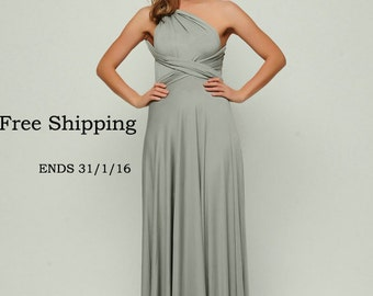 Grey infinity dress, Long convertible dress, bridesmaid dresses, convetible wrap dress