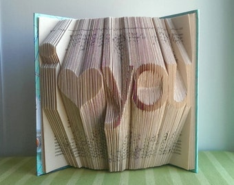 Folded Book Art - I Love You - First Anniversary Gift - Boyfriend / Girlfriend Gift - Best Selling - Handmade Sculpture - Husband / Wife