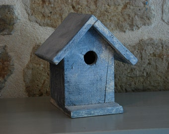 French Vintage nesting box or bird house, 1980s, in softly faded  blue. Garden decor. Good condition.