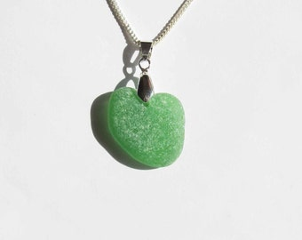 Green Heart Sea glass necklace genuine heart sea glass jewelry seaglass heart necklace beach glass necklace beach jewelry gift (SGN-12)