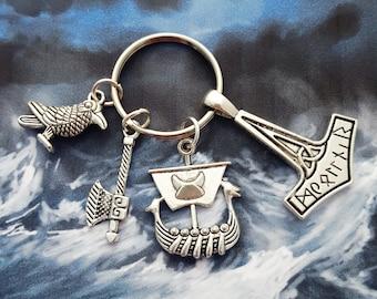 Viking Keyring, Viking Keychain, Geek Gift, History Geek, Vikings Gift, Viking Ship, Thor's Hammer, Thor Keychain, Gift For Him, Nerd Gift
