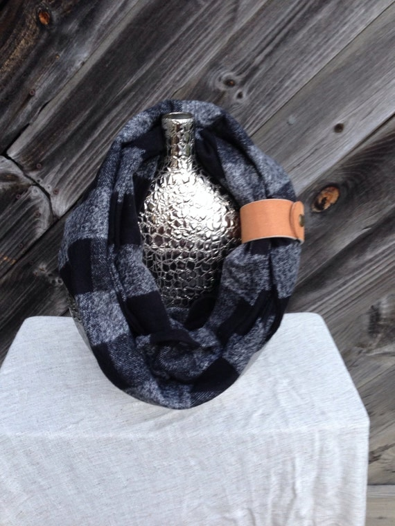 Black and gray Buffalo check plaid flannel eternity scarf with a brown leather cuff - soft, trendy