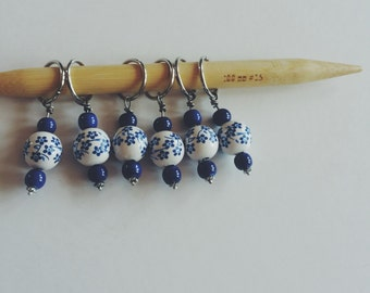 Blue Floral Stitch Markers / Set of 6