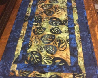 Blue table runner, batik table runner, quilted table runner, blue batik table runner, blue batik runner