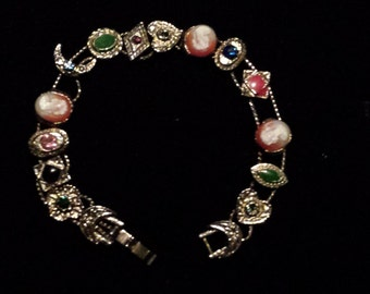 Vintage GOLDETTE Slide Bracelet with Cameos rhinestones, Faux Pearls and Cabochons