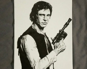 Han Solo - Star Wars Ink Drawing