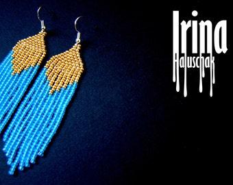 Beaded earrings, seed bead earrings, modern earrings, boho earrings, fringe earrings, beadwork jewelry, blue and gold, tribal earrings