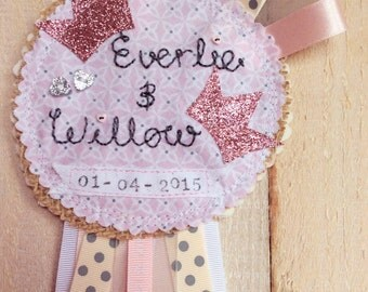 new baby personalised hanging bedroom rosette keepsake