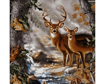 Deer Panel - Real Tree Nature Camo- by Sykel, Inc. - 100% Cotton High Quality Fabric