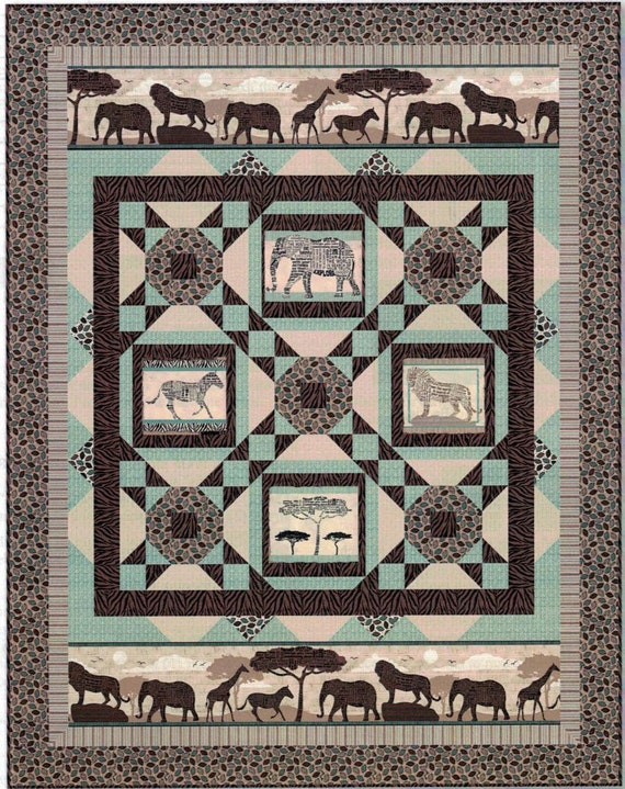 Quilt Kit African Animal Themed Wisdom Of The Plains