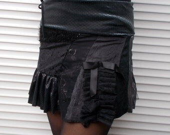 Short velvet lace skirt, Victorian skirt, Unique Black festival mini skirt,  Gothic, Pixie, Steampunk skirt, Patchwork skirt, 004, Size S